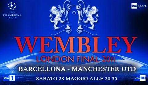"""Sabato finale di Champions """"Manchester - Barcellona"""" su Rai 1 e HD"""