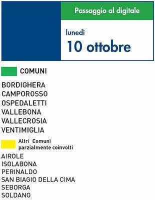 Switch off Liguria: le date comune per comune   Digitale terrestre: Dtti.it
