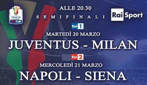 Semifinali Coppa Italia: Juventus - Milan e Napoli - Siena, diretta tv in HD e streaming | Digitale terrestre: Dtti.it