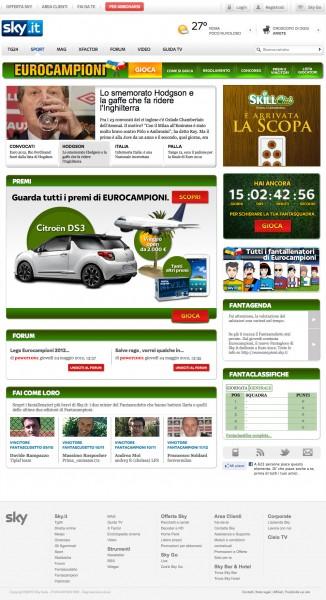 """Su Sky.it al via """"Eurocampioni"""", il fantacalcio dedicato a Euro 2012, e lo speciale europei"""