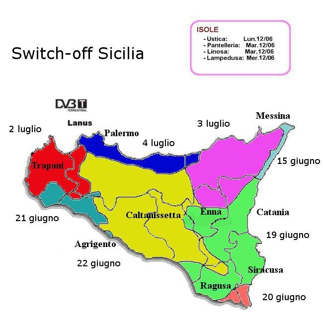 Arriva il digitale in Sicilia: ecco la mappa regionale con le date degli switch off | Digitale terrestre: Dtti.it