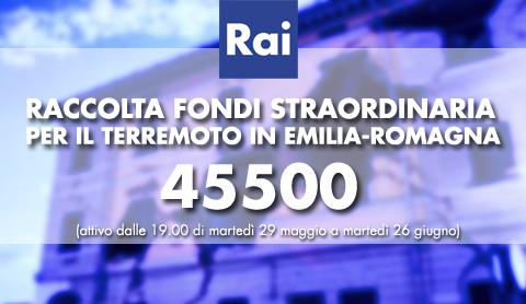 Rai: raccolta fondi straordinaria per il terremoto in Emilia Romagna | Digitale terrestre: Dtti.it