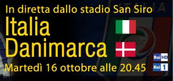 Qualificazioni Mondiali 2014, Italia - Danimarca: diretta su Rai 1 e in HD | Digitale terrestre: Dtti.it
