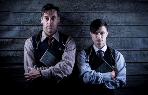 L to R. Old doctor (Jon Hamm), Young doctor (Daniel Radcliffe)