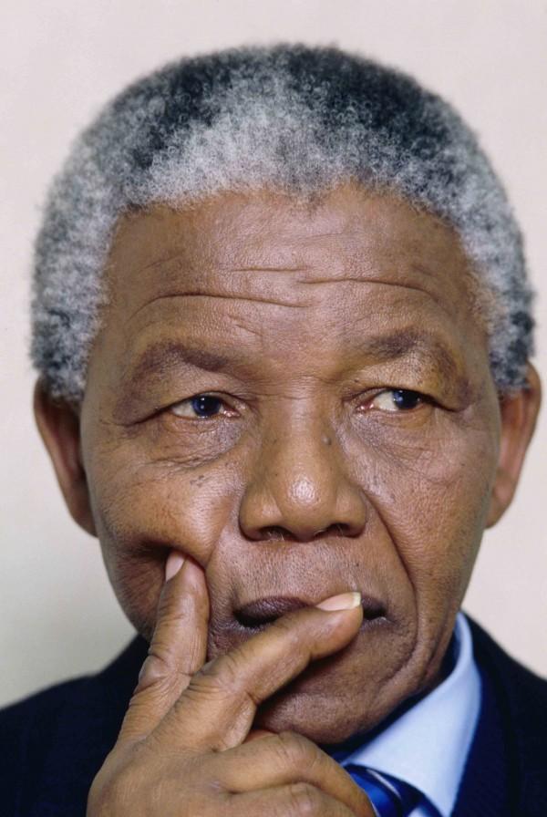Nelson Mandela in Pensive Pose