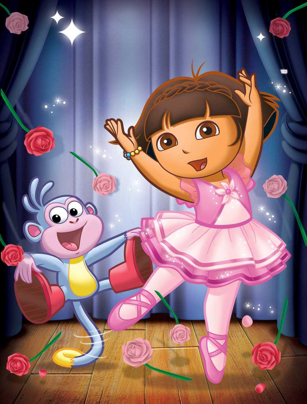 """""""Dora's Ballet Adventure""""-- Pictured:  Boots and Dora  in DORA THE EXPLORER  on Nickelodeon.  Photo:   /Nickelodeon. ©2011 Viacom International, Inc.  All Rights Reserved."""