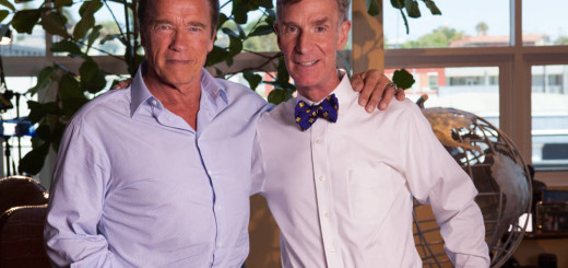 CALIF.- Hollywood action star and environmental advocate former California Gov. Arnold Schwarzenegger cameos as Bill Nye's climate change therapist in Explorer: Bill Nye's Global Meltdown. (Photo Credit: National Geographic Channels/Gina Cholick)