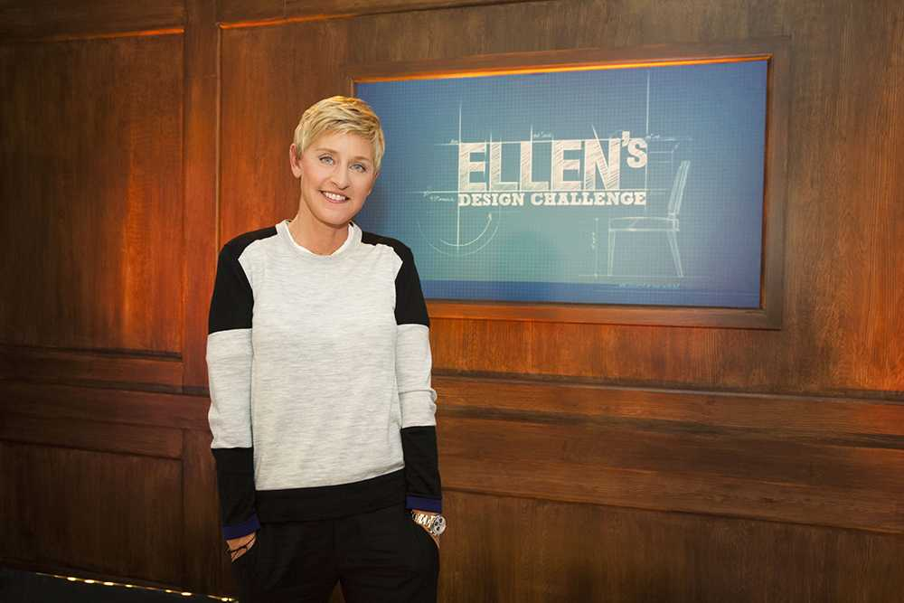 As seen on Ellen's Design Challenge, after announcing that designer Tim McClellan had won the competition, Ellen DeGeneres posed for a portrait. (portrait)