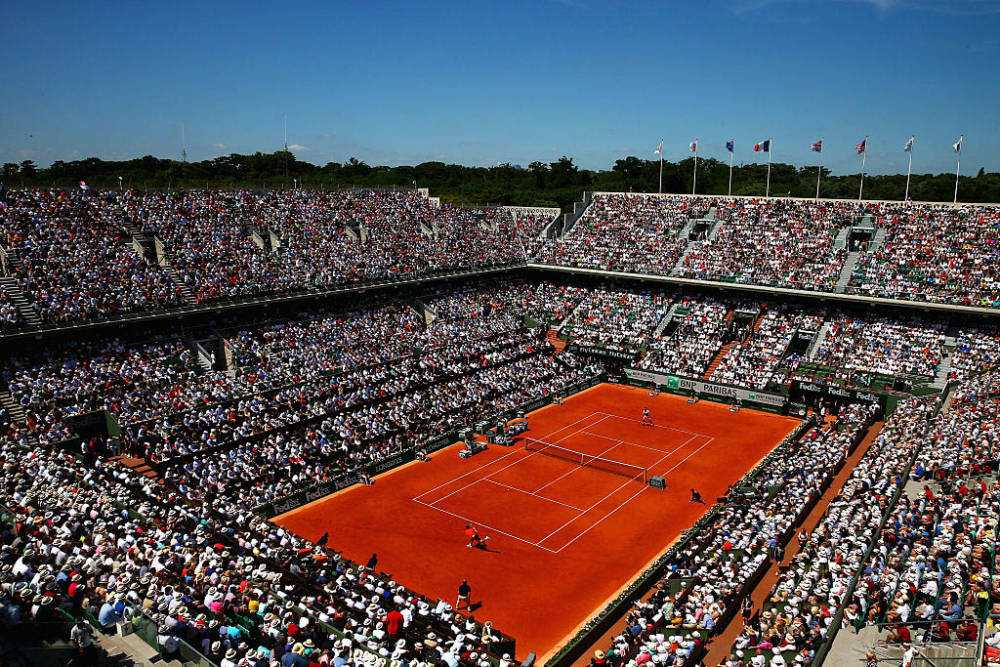 PARIS, FRANCE - JUNE 07:  A general view over Court Philippe Chatrier during the Men's Singles Final betwen Novak Djokovic of Serbia and Stanislas Wawrinka of Switzerland on day fifteen of the 2015 French Open at Roland Garros on June 7, 2015 in Paris, France.  (Photo by Dan Istitene/Getty Images)