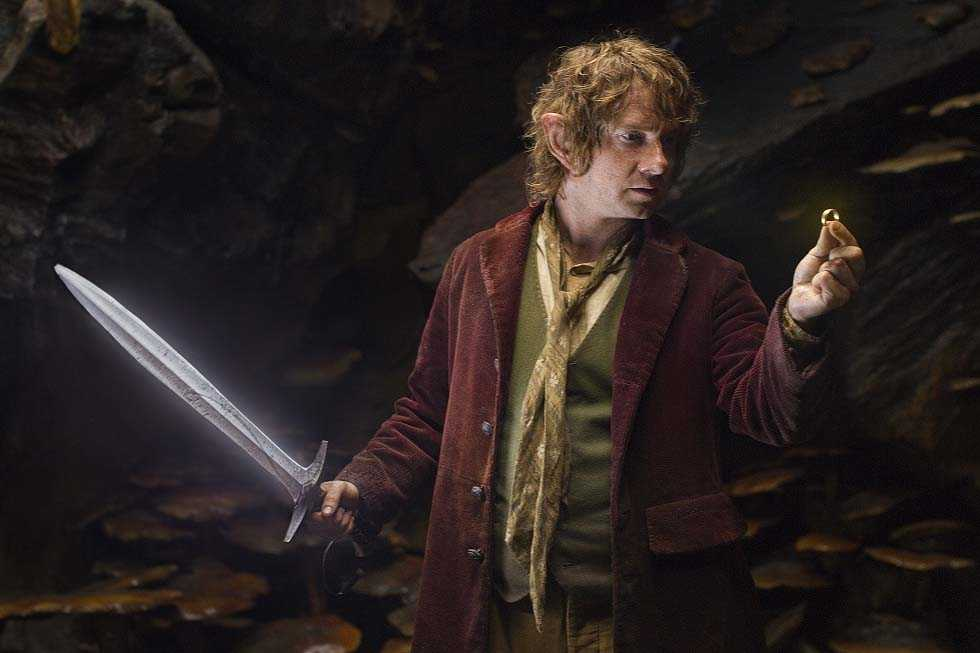 MARTIN FREEMAN as the Hobbit Bilbo Baggins with his sword, Sting, finds a small ring in GollumÕs cave in the fantasy adventure ÒTHE HOBBIT: AN UNEXPECTED JOURNEY,Ó a production of New Line Cinema and Metro-Goldwyn-Mayer Pictures (MGM), released by Warner Bros. Pictures and MGM.