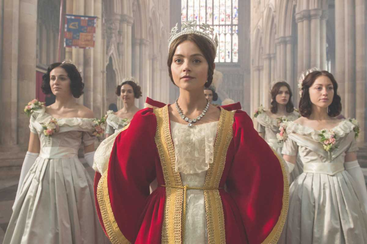 From ITV  VICTORIA  Episode One  Pictured: JENNA COLEMAN as Victoria  This photograph is (C) ITV Plc and can only be reproduced for editorial purposes directly in connection with the programme or event mentioned above. Once made available by ITV plc Picture Desk, this photograph can be reproduced once only up until the transmission [TX] date and no reproduction fee will be charged. Any subsequent usage may incur a fee. This photograph must not be manipulated [excluding basic cropping] in a manner which alters the visual appearance of the person photographed deemed detrimental or inappropriate by ITV plc Picture Desk.  This photograph must not be syndicated to any other company, publication or website, or permanently archived, without the express written permission of ITV Plc Picture Desk. Full Terms and conditions are available on the website www.itvpictures.com  For further information please contact: Patrick.smith@itv.com 0207 1573044