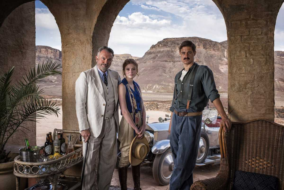 Gallery Specials: SAM NEILL as Lord Carnarvon, AMY WREN as Evelyn and MAX IRONS as Howard Carter on TUT's America House location with the Valley of the Kings as a backdrop.