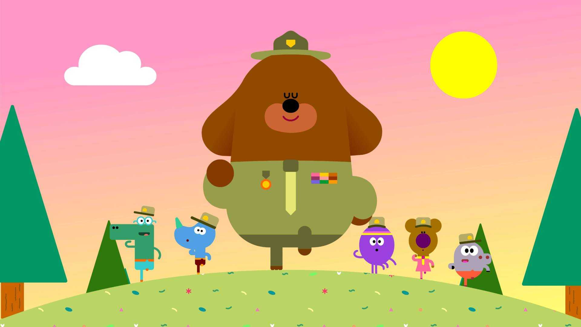 Duggee and the Squirrels march together in unison