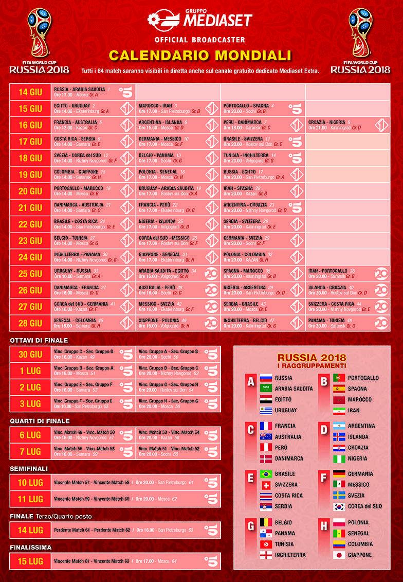 Mondiali Russia 2018: la programmazione Mediaset e il calendario