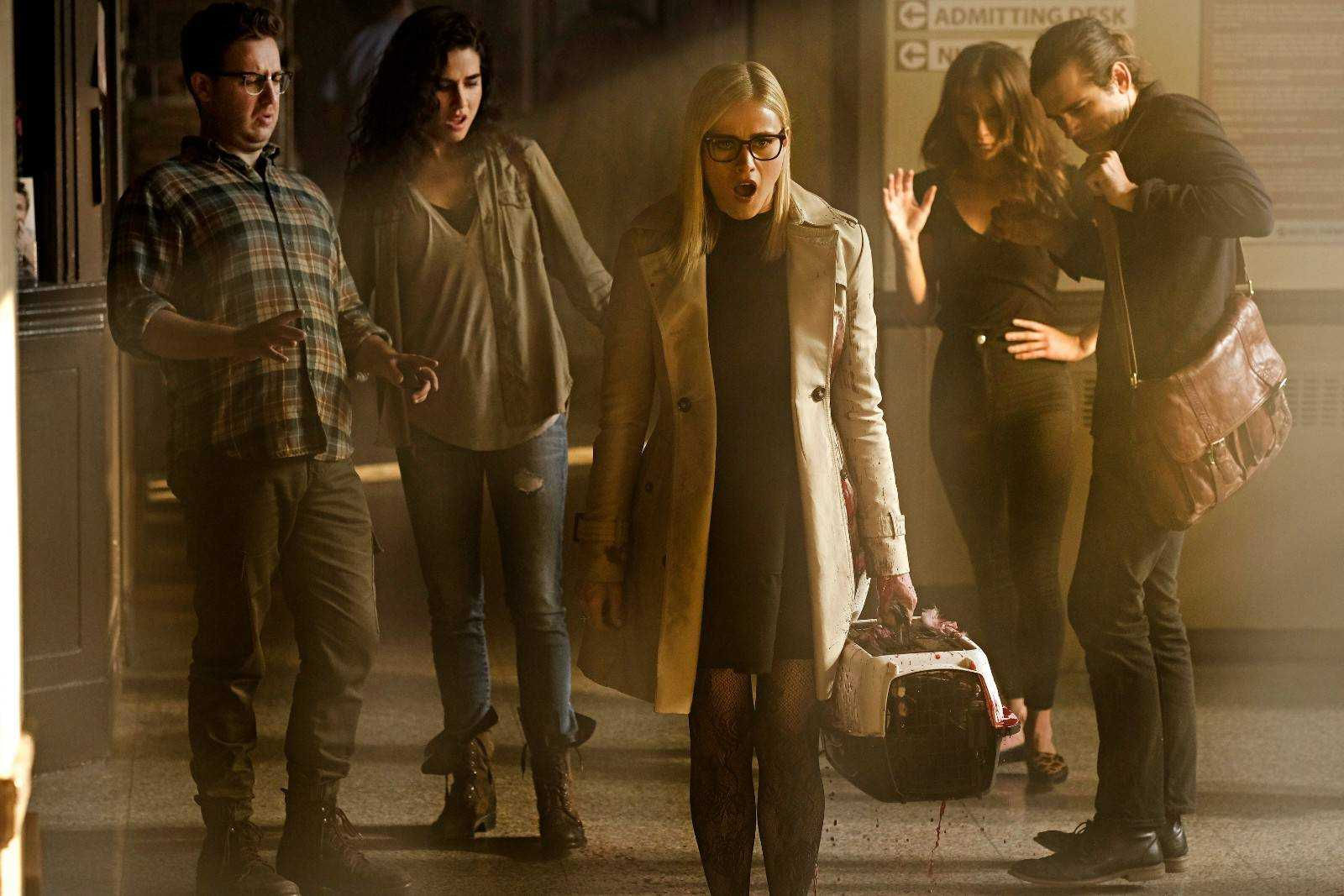 "THE MAGICIANS -- ""Heroes and Morons"" Episode 302 -- Pictured: (l-r) Trevor Einhorn as Josh Hoberman, Jade Tailor as Kady Orloff-Diaz, Olivia Taylor Dudley as Alice, Stella Maeve as Julia Wicker, Jason Ralph as Quentin Coldwater -- (Photo by: Eike Schroter/Syfy)"
