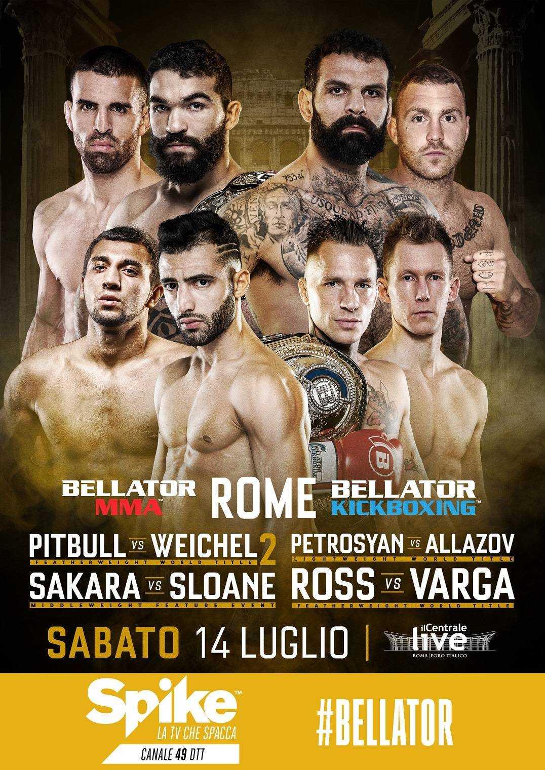 """Su Spike """"Bellator Roma"""": cobattimenti di MMA e KICKBOXING e l'atteso ritorno del """"legionario"""" Alessio Sakara"""