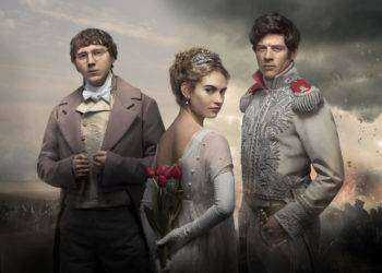 Picture shows: (L-R) Pierre Bezukhov (PAUL DANO),  Natasha Rostov (LILY JAMES) and Prince Andrei (JAMES NORTON)