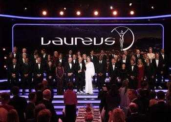 MONACO - FEBRUARY 27:  Prince Albert II of Monaco and his wife Charlene,Princess of Monaco on stage with the Academy Members during the 2018 Laureus World Sports Awards show at Salle des Etoiles, Sporting Monte-Carlo on February 27, 2018 in Monaco, Monaco.  (Photo by Stuart C. Wilson/Getty Images for Laureus)