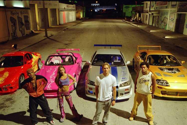 (L-R) Amaury Nolasco, Devon Aoki, Paul Walker and Michael Ealy