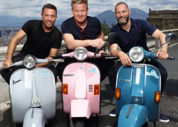 EMBARGOED PICTURE: FOR PUBLICATION FROM TUESDAY 2ND OCTOBER 2018 From Studio RamsayGORDON, GINO AND FRED: ROADTRIP Ep1 The Italian Job Wednesday 10th October 2018 on ITVPictured: Gino D'Acampo, Gordon Ramsay and Fred Sirieix in Naples in the shadow of Mount Vesuvius take to mopeds in search of the oldest pizzeria in townThree big egos, one small van. Gordon, Gino and Fred pack up their camper van once again and head off on a European adventure, but this time itÕs personal as each episode takes us on a tour of their cherished homelands, each of them with a special occasion to prepare for. With three countries, three weeks and three coqs au vin in close confinement what could possibly go wrong?In episode one, Gordon, Gino and Fred start their road trip in GinoÕs homeland of Italy, where Gino needs help to pull off an event that is close to his heart. His best friendÕs vow renewal ceremony is taking place in front of 50 guests, in just four daysÕ time.© ITVPhotographer: Tony WardFor further information please contact Peter Gray 0207 157 3046 peter.gray@itv.comThis photograph is © ITV and can only be reproduced for editorial purposes directly in connection with the  programme GORDON, GINO AND FRED: ROADTRIP or ITV. Once made available by the ITV Picture Desk, this photograph can be reproduced once only up until the Transmission date and no reproduction fee will be charged. Any subsequent usage may incur a fee. This photograph must not be syndicated to any other publication or website, or permanently archived, without the express written permission of ITV Picture Desk. Full Terms and conditions are available on the website www.itvpictures.com