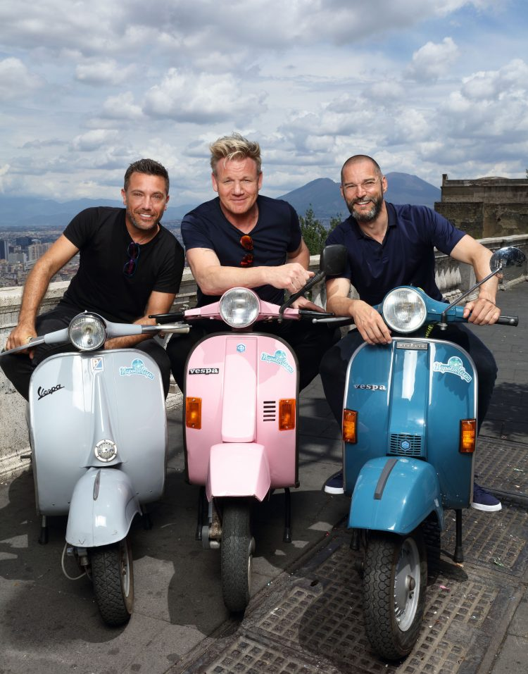 EMBARGOED PICTURE: FOR PUBLICATION FROM TUESDAY 2ND OCTOBER 2018 From Studio Ramsay  GORDON, GINO AND FRED: ROADTRIP Ep1 The Italian Job  Wednesday 10th October 2018 on ITV  Pictured: Gino D'Acampo, Gordon Ramsay and Fred Sirieix in Naples in the shadow of Mount Vesuvius take to mopeds in search of the oldest pizzeria in town  Three big egos, one small van. Gordon, Gino and Fred pack up their camper van once again and head off on a European adventure, but this time itÕs personal as each episode takes us on a tour of their cherished homelands, each of them with a special occasion to prepare for. With three countries, three weeks and three coqs au vin in close confinement what could possibly go wrong?  In episode one, Gordon, Gino and Fred start their road trip in GinoÕs homeland of Italy, where Gino needs help to pull off an event that is close to his heart. His best friendÕs vow renewal ceremony is taking place in front of 50 guests, in just four daysÕ time.  © ITV  Photographer: Tony Ward  For further information please contact Peter Gray 0207 157 3046 peter.gray@itv.com  This photograph is © ITV and can only be reproduced for editorial purposes directly in connection with the  programme GORDON, GINO AND FRED: ROADTRIP or ITV. Once made available by the ITV Picture Desk, this photograph can be reproduced once only up until the Transmission date and no reproduction fee will be charged. Any subsequent usage may incur a fee. This photograph must not be syndicated to any other publication or website, or permanently archived, without the express written permission of ITV Picture Desk. Full Terms and conditions are available on the website www.itvpictures.com